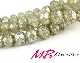 15 pcs Smokey Murcury Beads, 8x6mm Grey  Luster Faceted Rondelles, Puffy Donut Beads