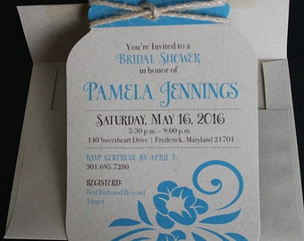 Mason Jar Invitation | Diecut Mason Jar Invitation | Rustic Invitation