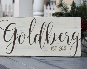 "Family name sign, Last name sign, Custom wedding gift, Housewarming gift, Established sign, Measures 10.5"" x 22"""