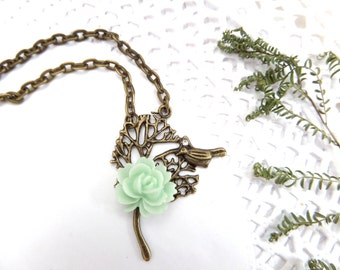Mint Bird Necklace Homecoming Jewelry Bronze Tree Necklace Bird Pendant Sparrow Jewelry Whimsical Necklace Wild Rose Necklace Shabby Jewelry