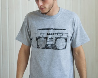 Ghettoblaster T Shirt - Retro Ghetto Blaster - Boombox New York City NYC Rap Old School Hip Hop Screen Printed Tee or Ringer T-Shirt Top