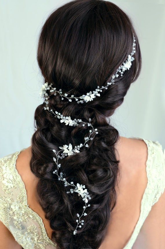 Bridal Hair Vine Wedding hair vine Flower hair vine Long hair vine