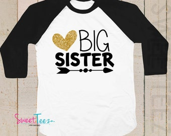 Glitter Big Sister Shirt Arrow Heart Sparkly Girl Shirt Tribal Pink Raglan Shirt Funny Toddler Youth Shirt