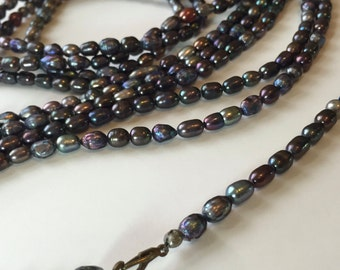 Lariat, necklace, Freshwater Pearl, adjustable, closure components  (over 10 Feet) SALE, very Long & Versatile!, purple - blue - peacock