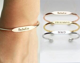 Personalized Bridesmaid Gift, Engraved Bracelet - Personalized Gift for Her, Personalized Bracelet, Engraved Gift Personalized Cuff Bracelet
