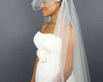 Juliet Cap Veil with Beaded Applique, Vintage Veil, Wedding Veil, Waltz Length Veil