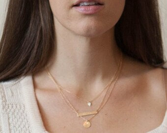 Gold Layered Necklace - 3 Layer Necklace - Personalized Gold Bar - Custom Stamped Necklace - Gold Initial - Yoga Jewelry - Fearless Necklace