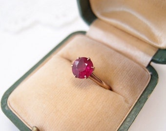 antique Ostby & Barton Ruby Ring / 10k solid gold 1.5 tcw Ruby gemstone solitaire Ring OB Maltese Cross mark ... size 5.5