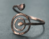 Return to Source - Oxidised copper bracelet, archaeology, cup and ring rock carvings, petroglyphs, tribal chic