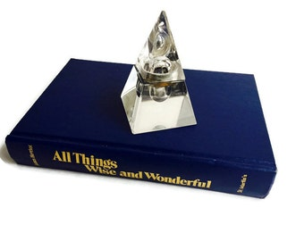 Amazing Vintage Pyramid Glass Inkwell Triangle Geometric Desk Decor Modern Glam meets Mystic Crystal Office Paperweight Bookcase Display