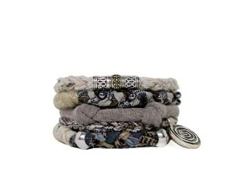 Zen Bracelet Stack Spiral Fiber Bracelet Brown Bohemian Bangles Natural Spiral Boho Stacking Bracelet Multistrand Eco Friendly Vegan Jewelry