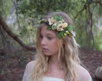 Vanilla and Meadow Green Flower Crown - melody of greens with cream adorned with hops, berries and roses on a vine crown - photo prop
