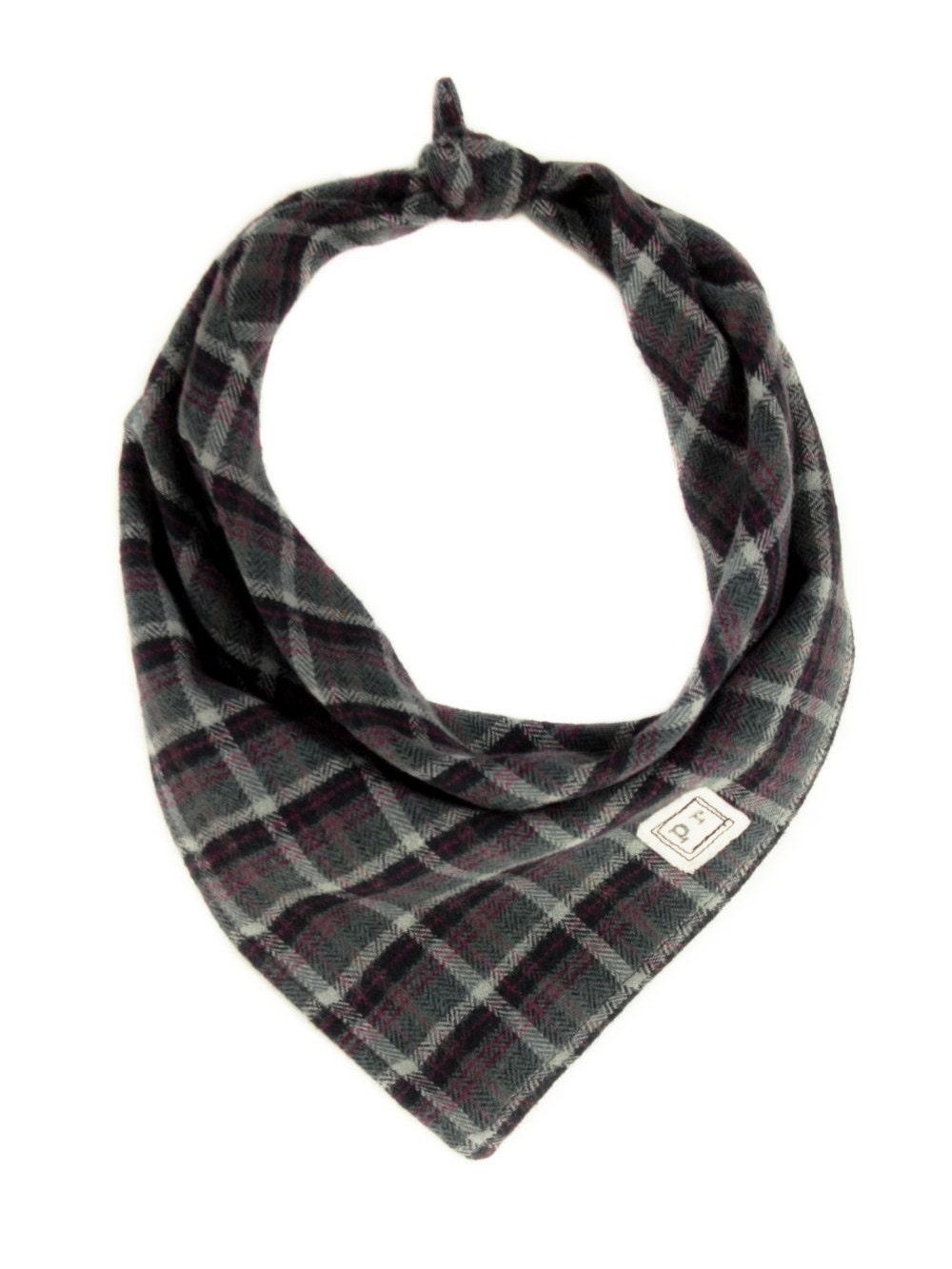 bandana flannel scarf puppy bandana grey