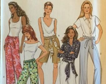 OOP 4462 Butterick (2005). Misses' shorts, pants, belt, sash.  Size 8-10-12-14.  Complete, unused, FF. Excellent condition.