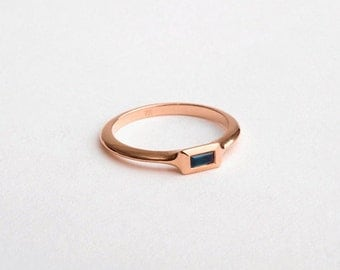 Blue Saphire Rose Gold Sapphire Ring 18k Rose Gold Birthstone Ring Baguette Sapphire Stack Ring, 14k Gold Gemstone Ring Women