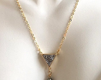 Triangle Silver Titanium Druzy, Freshwater Pearl, and Gold Filled Chain Necklace
