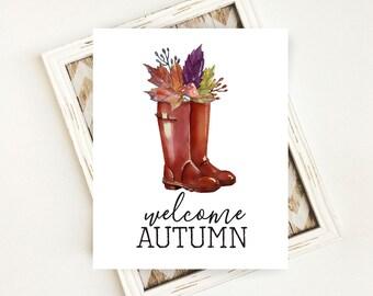 Fall Download, Fall Digital Art, Welcome Autumn Wall Decor, Autumn Digital Art, Welcome Autumn PRINTABLE Art, 8x10 Digital Download