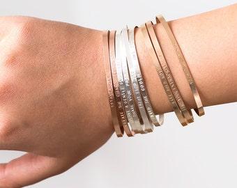 Mantra Bracelet, Stacking Personalized Cuff Bracelet, Inspirational Bracelet, Custom Hand Stamped Bracelet, Gift for Mom 3mm