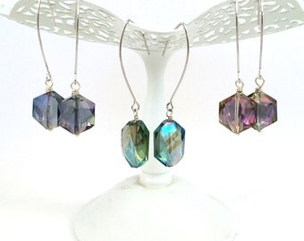 Crystal Dangle Earrings, Crystal Drop Earrings, Long Crystal Earrings, Crystal Jewelry, Geometric Jewelry, Modern Jewelry Earrings for Women