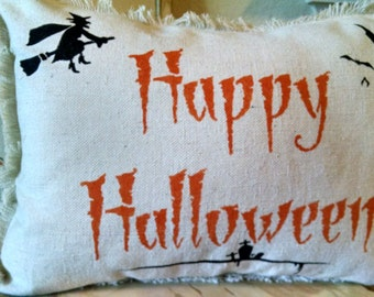 """Shabby 12""""x16"""" Happy Halloween Recycled Cotton Canvas Pillow Cover"""