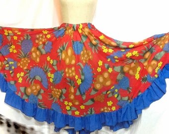 Vintage 1970's Tropican/Fiesta/ Mardi Gras novelty print full circle skirt