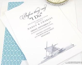 Milwaukee Art Museum Skyline Rehearsal Dinner Invitations (set of 25 cards)