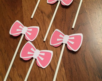 Bowss - Die Cut Cupcake Toppers; Girl / Diva Birthday Party; Baby Shower
