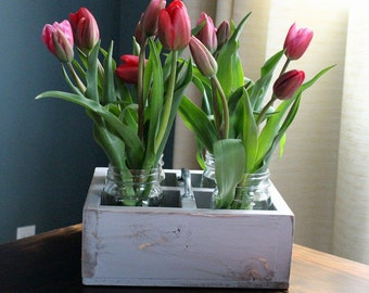 Rustic Wood Center Piece, Wood Planter Box, Country Wedding, Shabby Chic Garden Boxes
