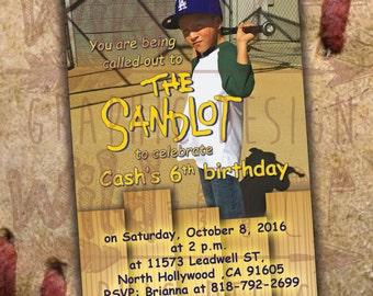 The Sandlot Baseball Birthday Invitation 4x6