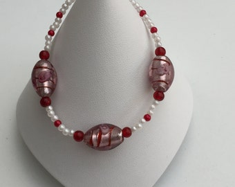 Handmade Red and Cream Beaded Bracelet