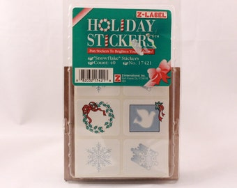 Vintage Z-Label Holiday Stickers. 40 Count. Snowflake. Sealed