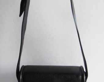 VICENZA Italy 1993 Moon & Stars Structured Black Leather Cross Body Bag