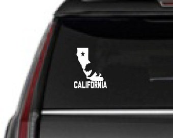 California decal, FREE SHIPPING, White vinyl decal, California Republic, Bear and star, #californiabear #127