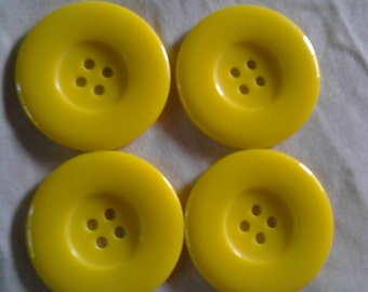 4 Unique extra large yellow buttons/ 4.5cm/ 1.77 inches/ 45 mm