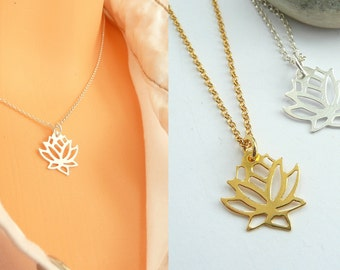 Lotus Pendant Necklace, 925 Silver Lotus Necklace, Gold Lotus Necklace, Thin Chain Necklace, Minimalist Necklace