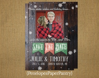 Save The Date Photo Card,Christmas Wedding,Winter Wedding,Rustic Wood,Red,Green,Snowflakes,One Photo,Personalize,Printed Cards,Envelopes