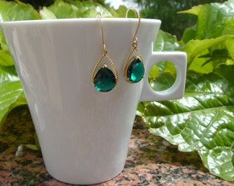 Drop gold earrings, gold-plated, silver, green, Emerald, crystal glass