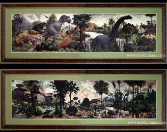 Age of Reptiles Dinosaur Mural By Zallinger Peabody Museum Framed & Matted Prints