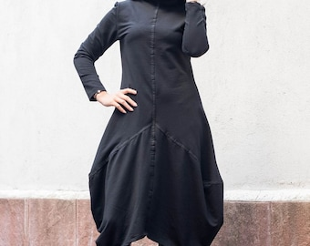 Plus Size Clothing, Oversized Black Dress, Black Party Dress, Midi Dress, Asymmetric Dress, Goth Dress, Avant Garde Dress, Steampunk Dress