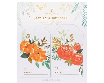 Painted Red & Orange Floral Gift Tags