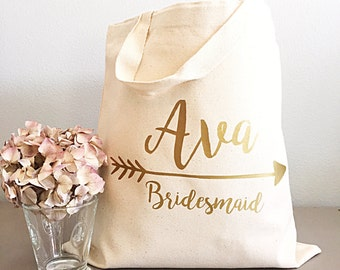 Bridesmaid gift tote- Gold arrow- Tote bags- Bride tribe canvas tote bag