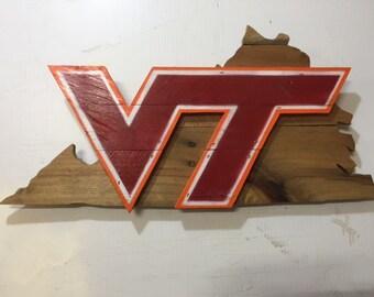 Virginia Tech Rustic Wooden Sign Hokies