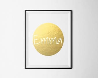Custom Name Foil Print Circle (Add your name) REAL FOIL