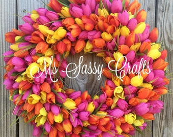 Spring Tulip Wreath - Spring Wreath - Tulip Wreath - Pink Tulip Wreath - Orange Tulip Wreath - Yellow Tulip Wreath - Mother's Day Wreath