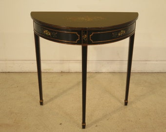 23990E: Stunning Half Round Paint Decorated Demi Lune Hall Table