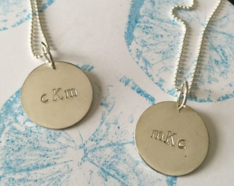 STERLING SILVER Custom Metal Stamped Necklace //