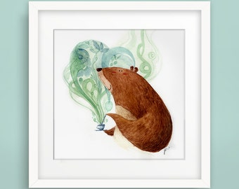 Bear & Tea - Fine Art Print