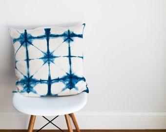 SALE Fading Triangles Indigo Cushion