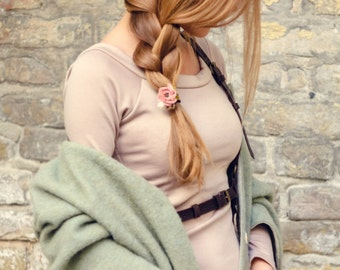 Flower scrunchie Fashion accessory Blush flower Boho jewelry Flower Romantic Hair Scrunchie Flower hair accessories