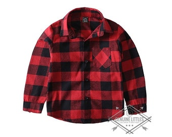 Buffalo Plaid flannel for kids-Fall flannel-plaid-kids button up - toddler - baby - children clothes - tops - trendy - fashion - red flannel